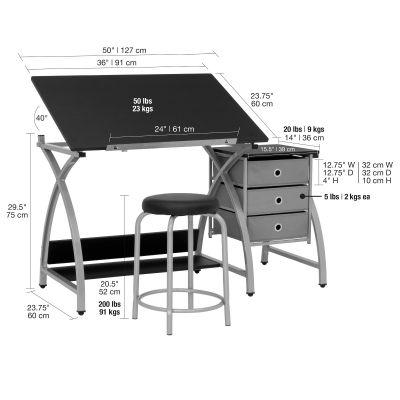 Mesa superior ajustable Comet Craft Center de 2 piezas con almacenamiento y taburete en plateado / negro