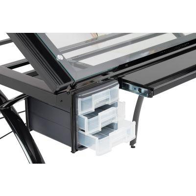 Mesa de dibujo Futura con tapa ajustable y almacenamiento en vidrio negro / transparente