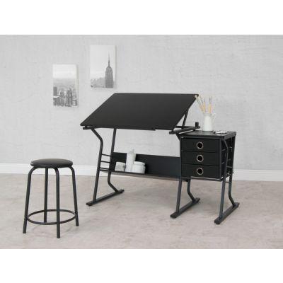 Centro de diseño Eclipse de 2 piezas con mesa superior ajustable, almacenamiento y taburete negro