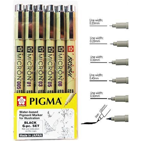 Set de dibujo Pigma x6